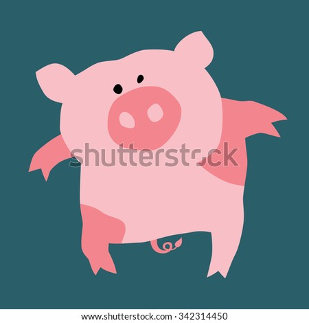Cartoon illustration of a pretty pig. Can be easily colored and used in your design. - stock vector