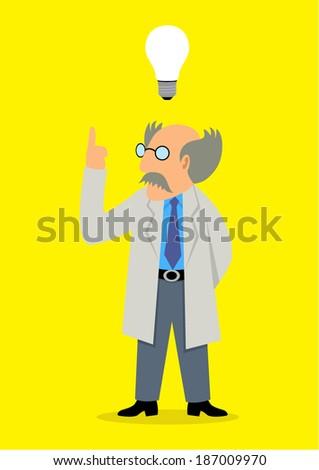Cartoon illustration of a professor got an idea - stock vector