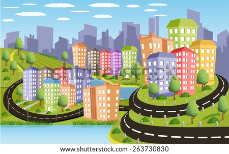 Cartoon illustration of a road to a city - stock vector