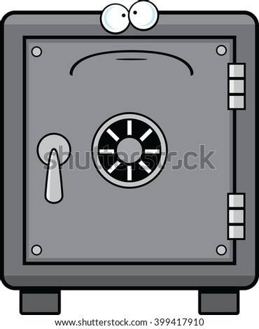 Cartoon illustration of a safe with a sad expression.