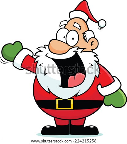 Cartoon illustration of a Santa Claus pointing and smiling.  - stock vector