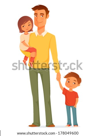 cartoon illustration of a single young father with his cute children - stock vector