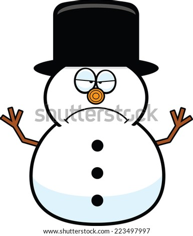 Cartoon illustration of a snowman with a grumpy expression.