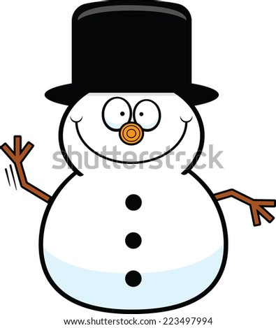 Cartoon illustration of a snowman with a happy expression.