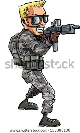 Cartoon illustration of a Soldier with a sub machine gun. Isolated