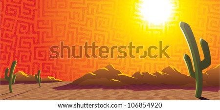 Cartoon illustration of a sunset in a desert landscape with mountains and saguaro cacti.