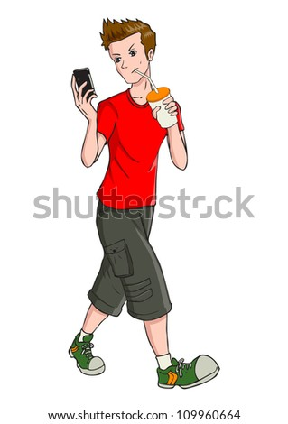 Cartoon illustration of a teenager holding a cellular phone - stock vector