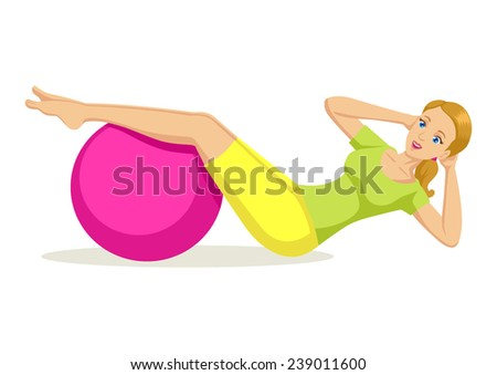 Cartoon illustration of a woman exercising using fitness ball