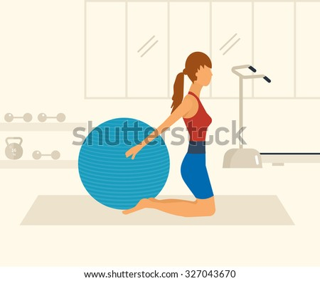 Cartoon illustration of a woman exercising with gymnastic ball. Sport fitness friendly female  - stock vector