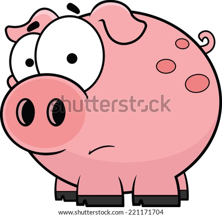 Cartoon illustration of a worried little pig.  - stock vector