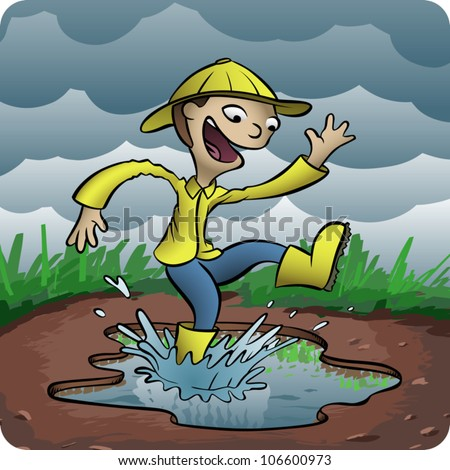 Cartoon illustration of a young boy playing in a puddle of water on a rainy day.