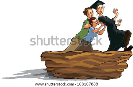 Cartoon illustration of a young man in graduation robes being pushed out of a giant nest by his middle aged parents. - stock vector