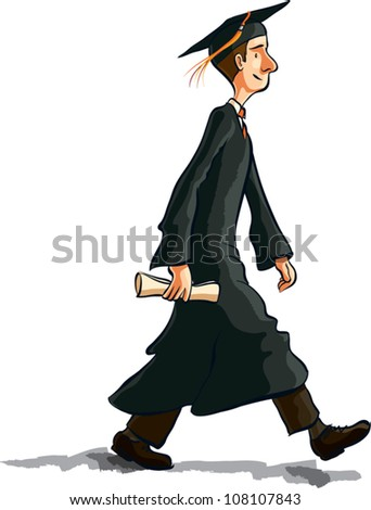 Cartoon illustration of a young man walking in graduation robes holding a diploma. Profile view, isolated on white.