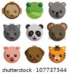 Cartoon illustration of adorable baby animal faces, isolated on white. Includes a monkey, frog, koala, cat, panda, mouse, pig, dog, and tiger. - stock vector
