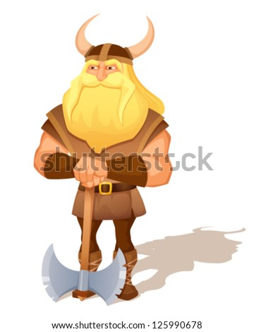 cartoon illustration of an ancient viking warrior with an axe - stock vector