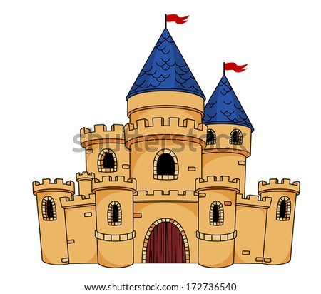 Cartoon illustration of an old medieval castle or fortress with a central arched door, towers, turrets and flying flags - stock vector