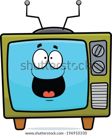 Cartoon illustration of an old TV set with a happy expression.  - stock vector