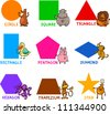 Cartoon Illustration of Basic Geometric Shapes with Captions and Animals Comic Characters for Children Education - stock photo
