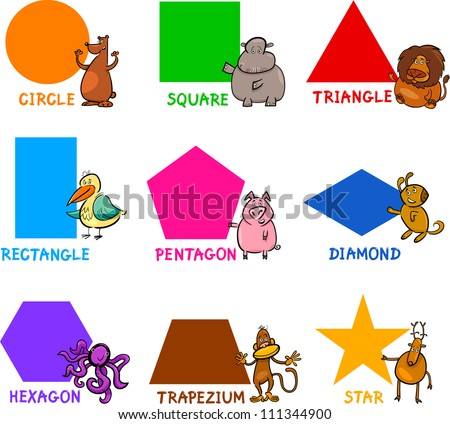 Cartoon Illustration of Basic Geometric Shapes with Captions and Animals Comic Characters for Children Education - stock vector
