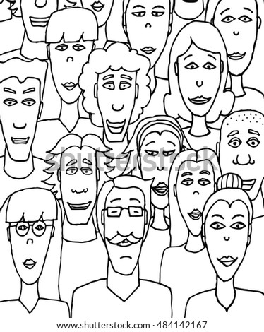 Cartoon illustration of black and white crowd together