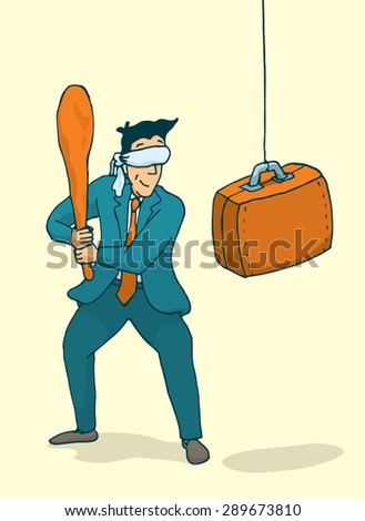 Cartoon illustration of blindfolded businessman ready to strike a portfolio pinata - stock vector