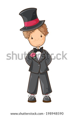 Cartoon illustration of  boy  in wedding suit - stock vector