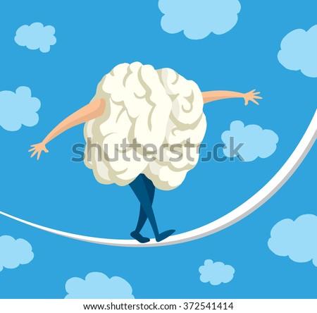 Cartoon illustration of brain balancing on a string - stock vector