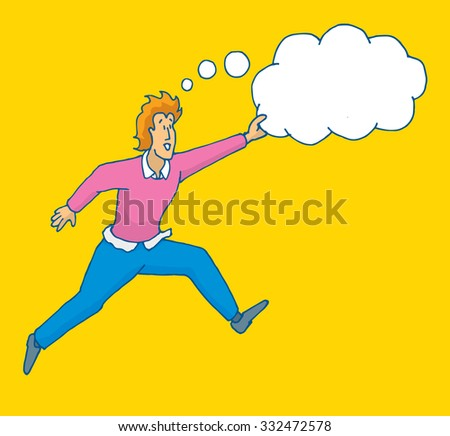 Cartoon illustration of brave man jumping catching his dreams or thoughts