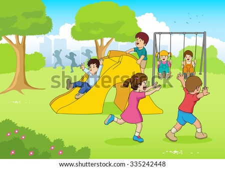 Cartoon illustration of children playing at the playground - stock vector