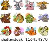 Cartoon Illustration of Chinese Zodiac Horoscope Animal Signs Complete Set - stock photo