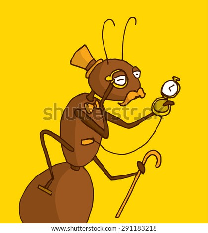 Cartoon illustration of classy ant expert in antiques