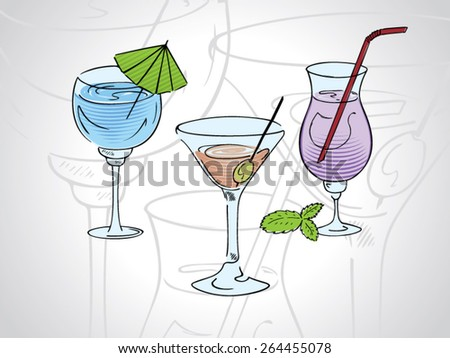 Cartoon illustration of cocktails with a black outline isolated on white - stock vector