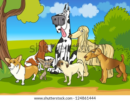 Cartoon Illustration of Cute Purebred Dogs or Puppies Group against Rural Scene with Blue Sky - stock vector