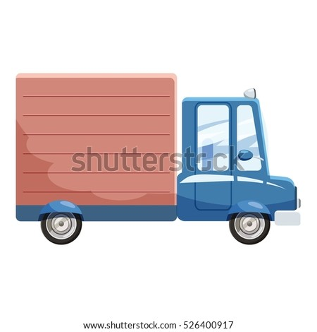 Cartoon illustration of delivery car vector icon for web design