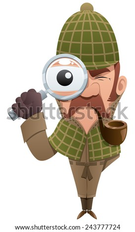 Cartoon illustration of detective, looking at you through magnifier.  No transparency used. Basic (linear) gradients.  - stock vector