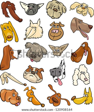Cartoon Illustration of Different Happy Dogs Heads Big Collection Set - stock vector