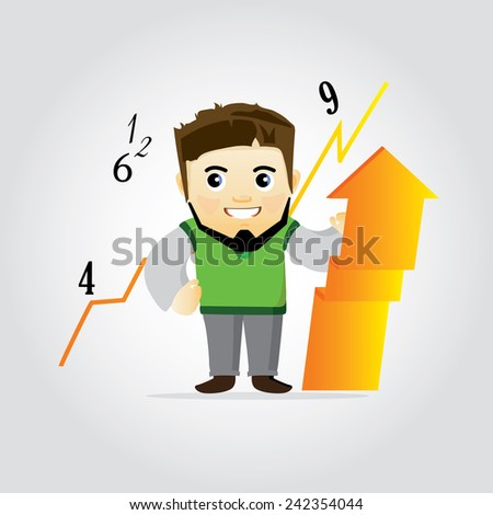 cartoon illustration of economist and arrow - stock vector