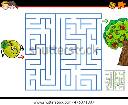 Cartoon Illustration of Education Maze or Labyrinth Activity Game for Children with Apple and the Tree