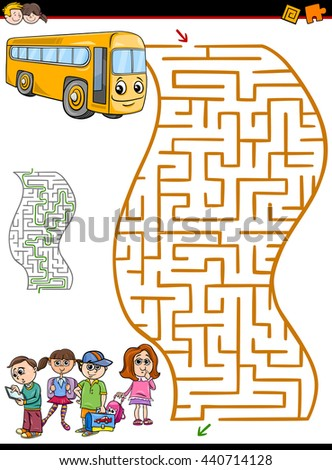 Cartoon Illustration of Education Maze or Labyrinth Activity Task for Preschool Children with School Bus and Kids - stock vector