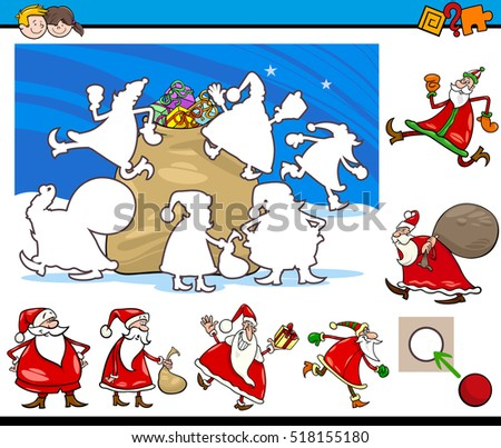 Cartoon Illustration of Educational Activity for Preschool Children with Santa Claus Characters on Christmas