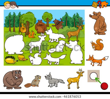 Cartoon Illustration of Educational Activity for Preschool Children with Wild Animal Characters