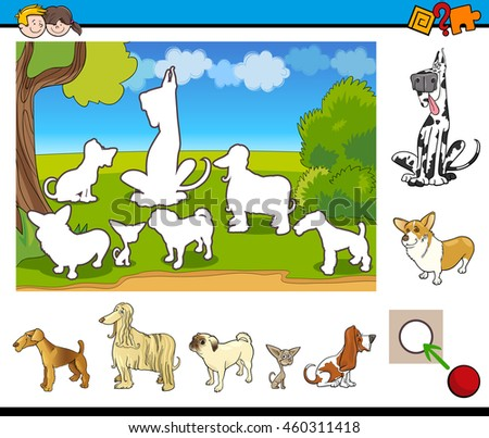 Cartoon Illustration of Educational Activity Task for Preschool Children with Purebred Dogs Animal Characters