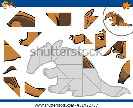 Cartoon Illustration of Educational Jigsaw Puzzle Activity for Preschool Children with Anteater Animal Character