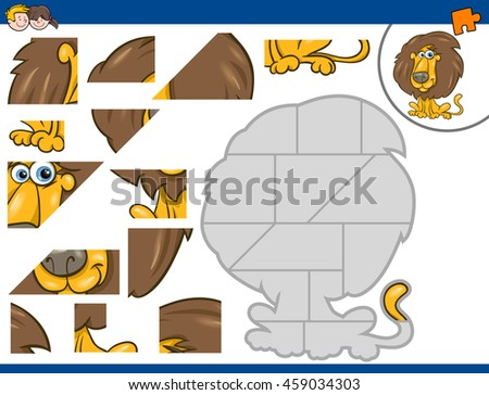 Cartoon Illustration of Educational Jigsaw Puzzle Activity for Preschool Children with Lion Animal Character