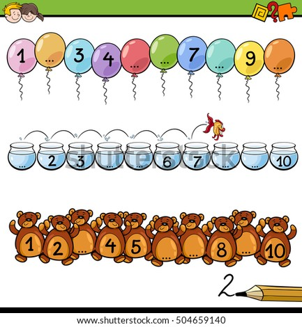 Cartoon Illustration of Educational Mathematical Activity for Children with Count to Ten Task