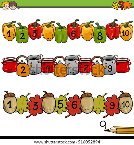 Cartoon Illustration of Educational Mathematical Activity for Children with Count to Ten Worksheet