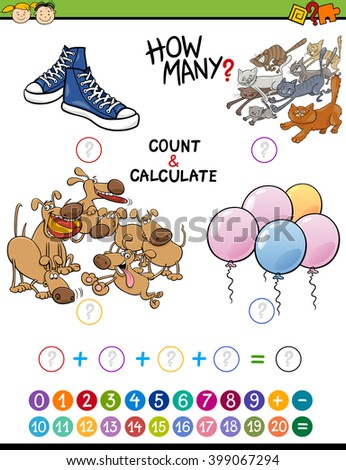 Cartoon Illustration of Educational Mathematical Count and Addition Activity for Preschool Children