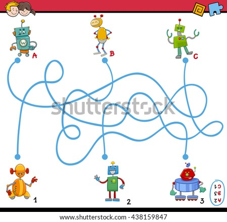 Cartoon Illustration of Educational Paths or Maze Puzzle Activity Task for Preschool Children with Robot Characters