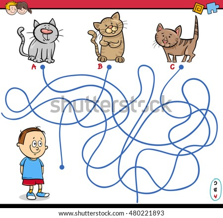 Cartoon Illustration of Educational Paths or Maze Puzzle Activity with Child Boy and Kittens