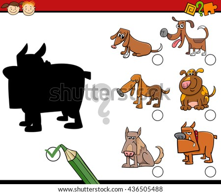 Cartoon Illustration of Educational Shadow Activity for Preschool Children with Dogs